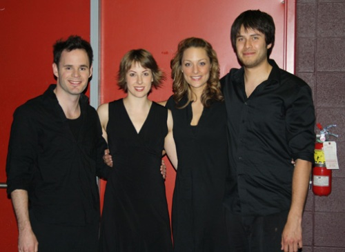 Ryan, Julia, Meegwun and I backstage before the show in Timmins